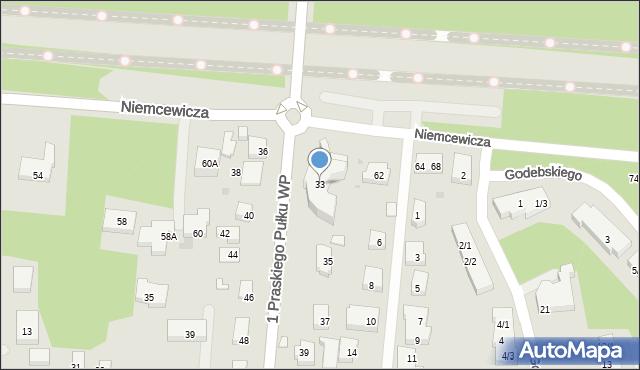 Warszawa, 1 Praskiego Pułku WP, 33, mapa Warszawy