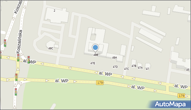 Piła, Aleja Wojska Polskiego, 49B, mapa Piły