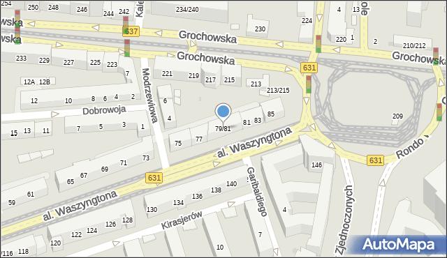 Warszawa, Aleja Waszyngtona Jerzego, 79/81, mapa Warszawy