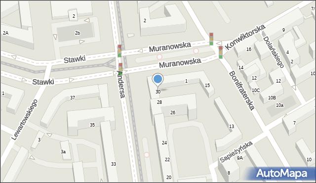 Warszawa, Andersa Władysława, 30, mapa Warszawy