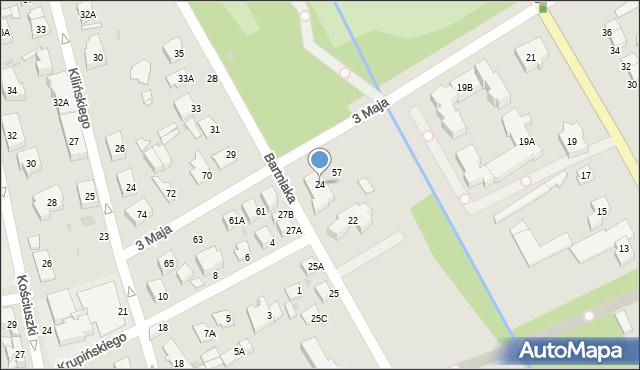 Grodzisk Mazowiecki, Bartniaka W., 24, mapa Grodzisk Mazowiecki