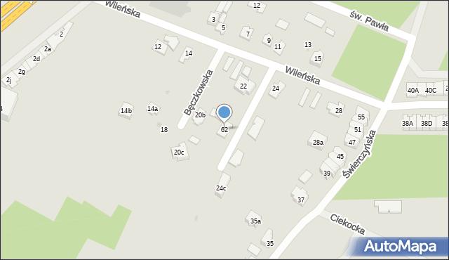 Kielce, Bęczkowska, 53a, mapa Kielc