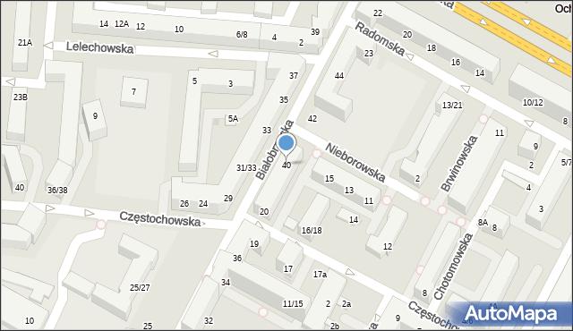 Warszawa, Białobrzeska, 40, mapa Warszawy