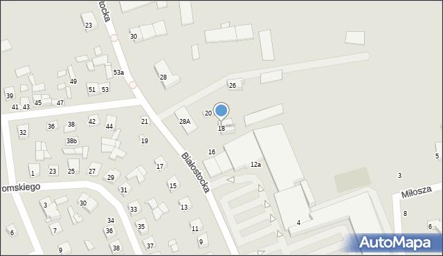Wysokie Mazowieckie, Białostocka, 18, mapa Wysokie Mazowieckie