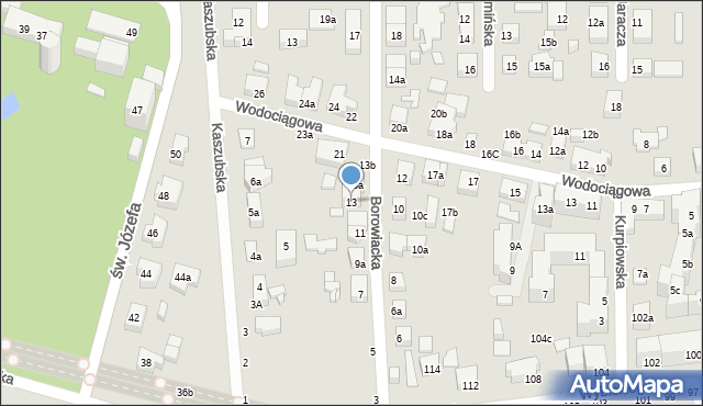 Toruń, Borowiacka, 13, mapa Torunia