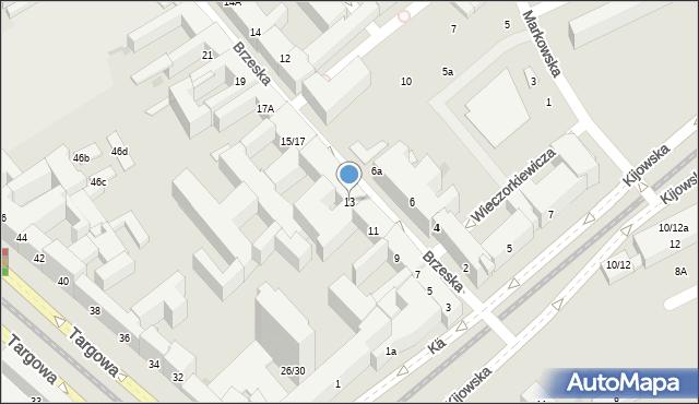 Warszawa, Brzeska, 13, mapa Warszawy