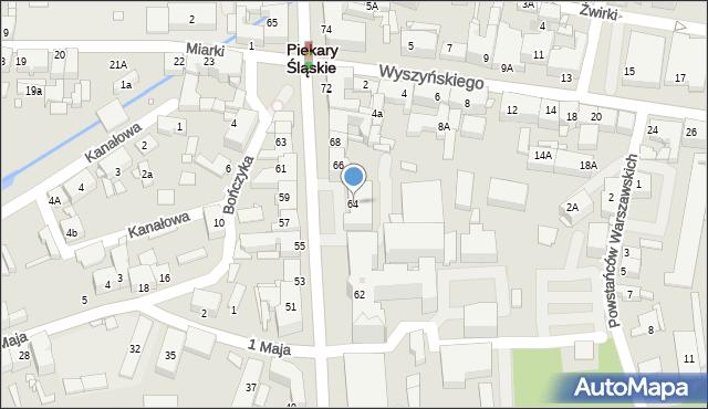 Piekary Śląskie, Bytomska, 64, mapa Piekary Śląskie