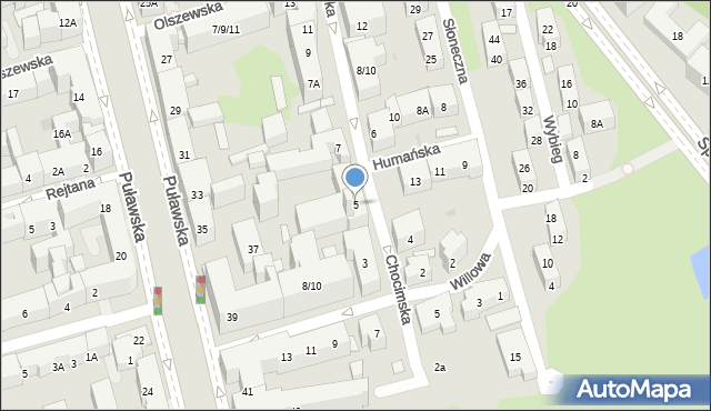 Warszawa, Chocimska, 5, mapa Warszawy
