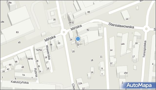 Warszawa, Chodakowska, 22, mapa Warszawy