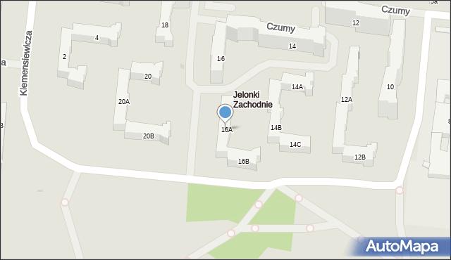 Warszawa, Czumy Waleriana, gen., 16A, mapa Warszawy