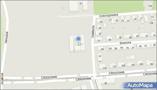 Warszawa, Dalibora, 1, mapa Warszawy