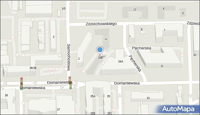 Warszawa, Domaniewska, 34b, mapa Warszawy