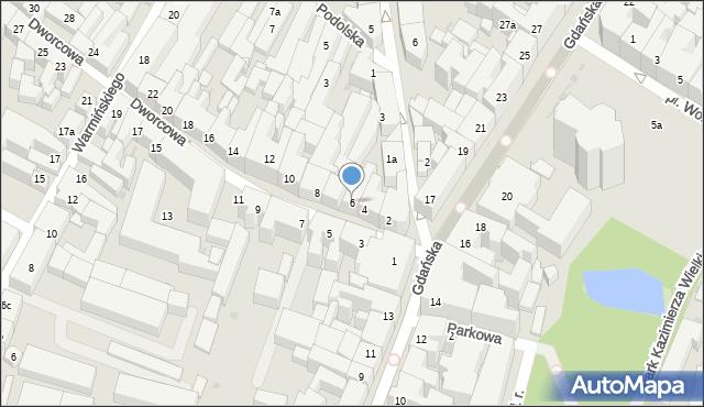 Bydgoszcz, Dworcowa, 6, mapa Bydgoszczy