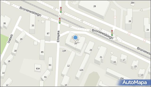 Warszawa, Elbląska, 14, mapa Warszawy