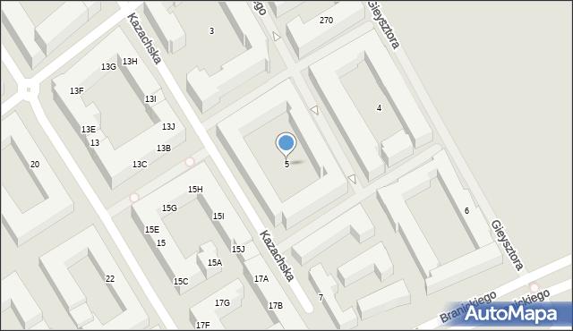 Warszawa, Kazachska, 5, mapa Warszawy