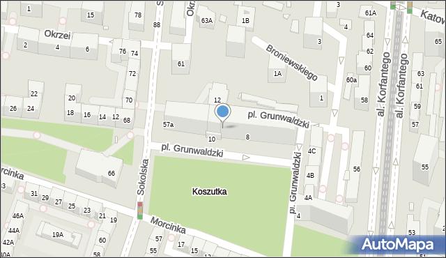 Katowice, Grunwaldzki, pl., 8/10, mapa Katowic