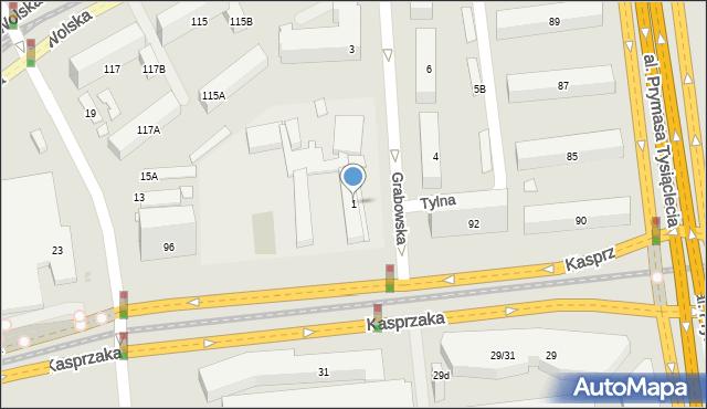 Warszawa, Grabowska, 1, mapa Warszawy