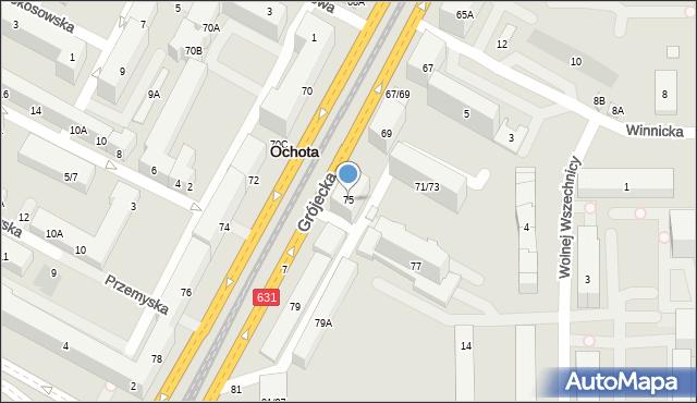 Warszawa, Grójecka, 75, mapa Warszawy