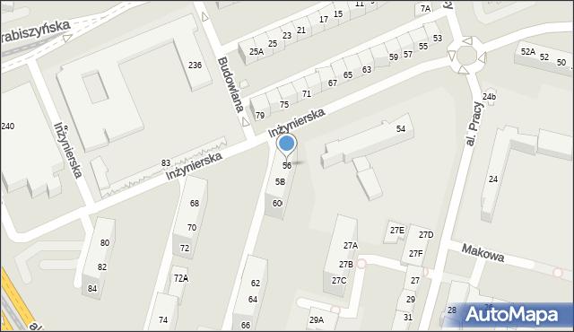 Wrocław, Inżynierska, 56, mapa Wrocławia