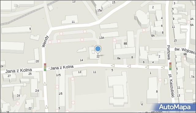 Gdynia, Jana z Kolna, 12, mapa Gdyni