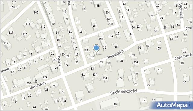 Katowice, Jaworowa, 34, mapa Katowic