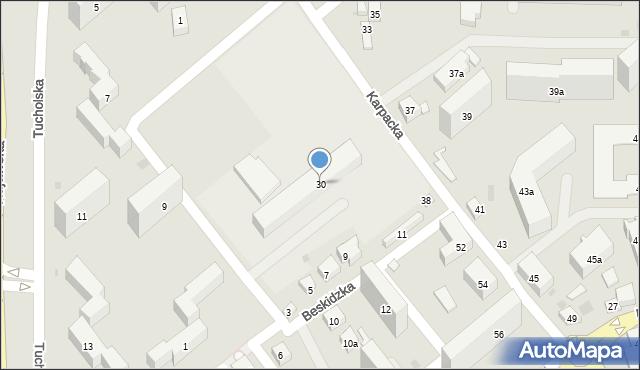 Bydgoszcz, Karpacka, 30, mapa Bydgoszczy