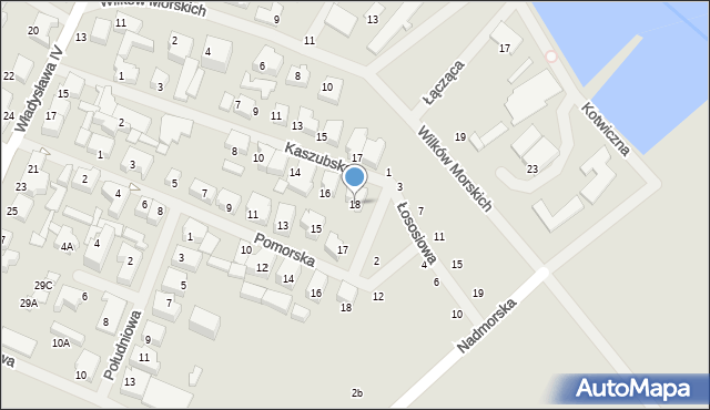Darłowo, Kaszubska, 18, mapa Darłowo