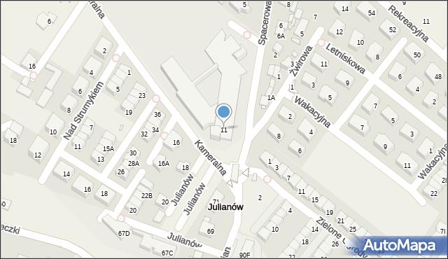 Józefosław, Kameralna, 11, mapa Józefosław