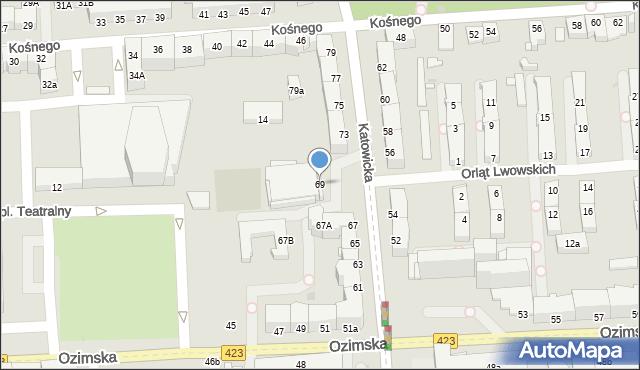 Opole, Katowicka, 69, mapa Opola