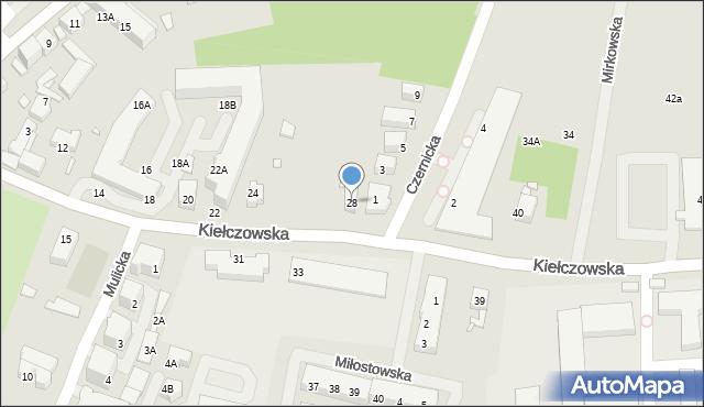 Wrocław, Kiełczowska, 28, mapa Wrocławia