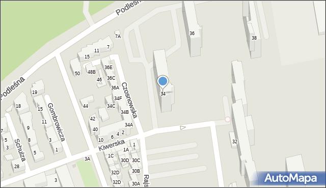 Warszawa, Klaudyny, 34, mapa Warszawy
