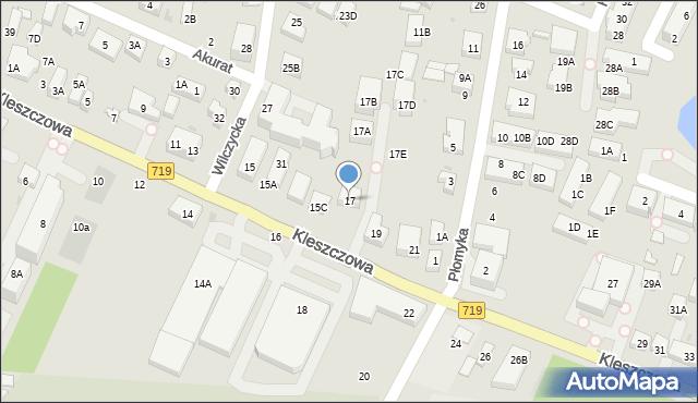 Warszawa, Kleszczowa, 17, mapa Warszawy