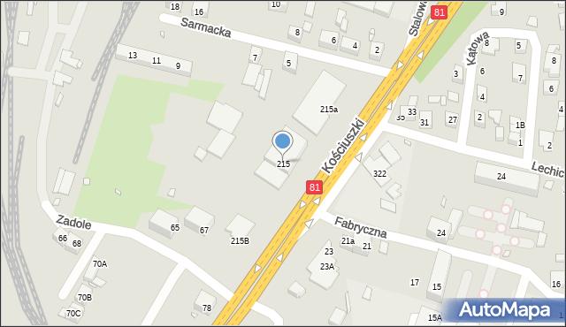 Katowice, Kościuszki Tadeusza, 215, mapa Katowic