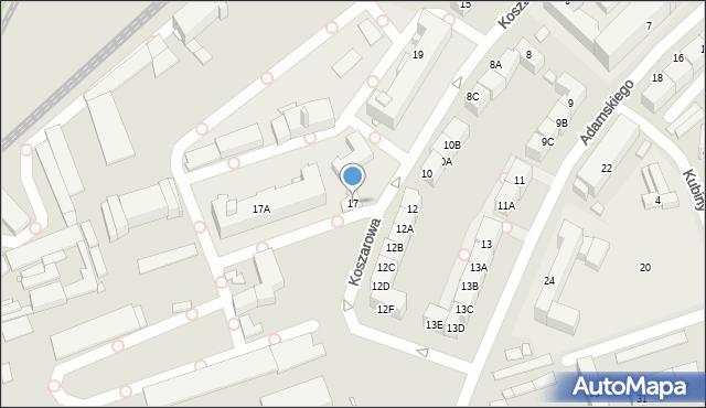 Katowice, Koszarowa, 17, mapa Katowic