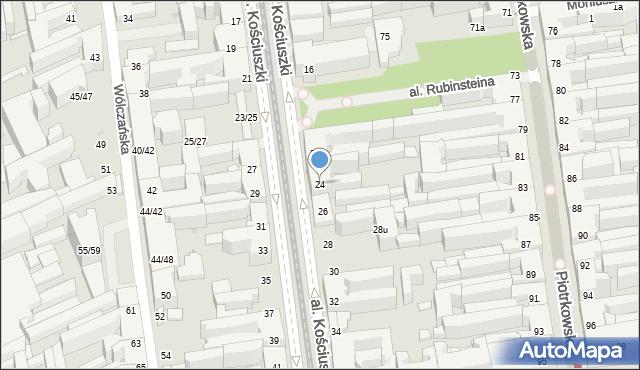 Łódź, Kościuszki Tadeusza, 24, mapa Łodzi