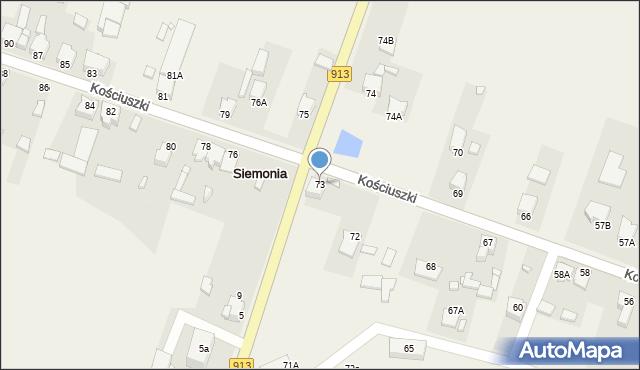 Siemonia, Kościuszki, 73, mapa Siemonia