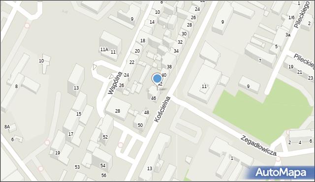Sosnowiec, Kościelna, 44, mapa Sosnowca