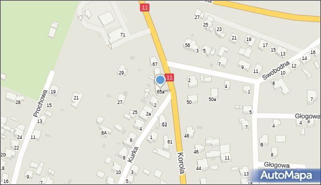Tarnowskie Góry, Korola Józefa, 65a, mapa Tarnowskie Góry
