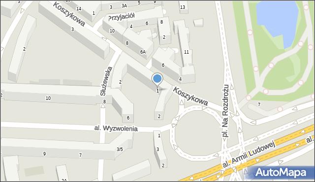Warszawa, Koszykowa, 1, mapa Warszawy