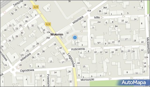 Wołomin, Kościelna, 1, mapa Wołomin