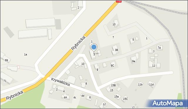 Nieborowice, Krywałdzka, 3, mapa Nieborowice