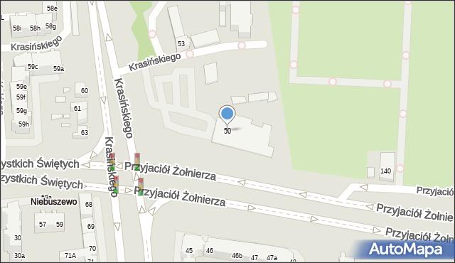 Szczecin, Krasińskiego Zygmunta, 50, mapa Szczecina