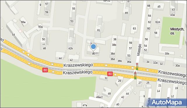 Toruń, Kraszewskiego Józefa Ignacego, 40, mapa Torunia