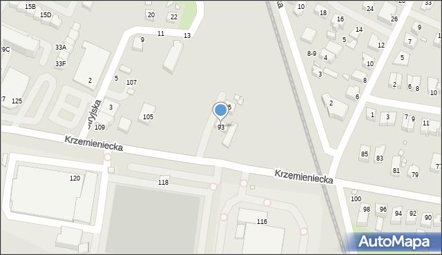 Wrocław, Krzemieniecka, 93, mapa Wrocławia