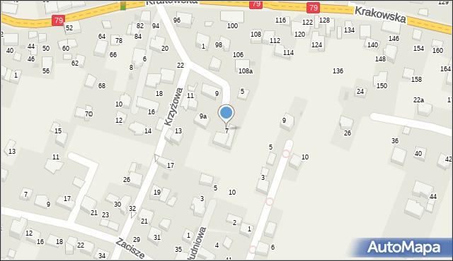 Zabierzów, Krzyżowa, 7, mapa Zabierzów