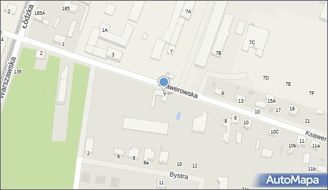 Pabianice, Ksawerowska, 7, mapa Pabianic
