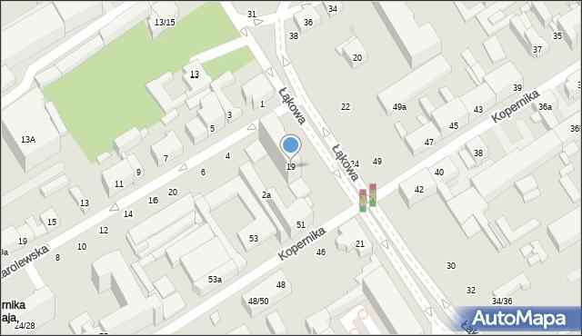 Łódź, Łąkowa, 19, mapa Łodzi