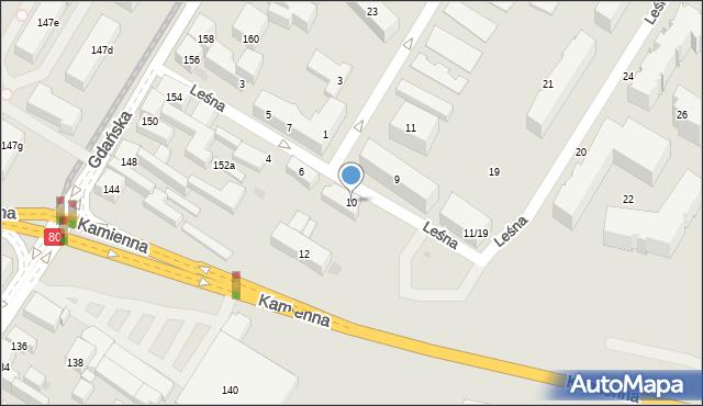 Bydgoszcz, Leśna, 10, mapa Bydgoszczy