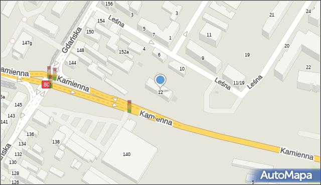 Bydgoszcz, Leśna, 12, mapa Bydgoszczy