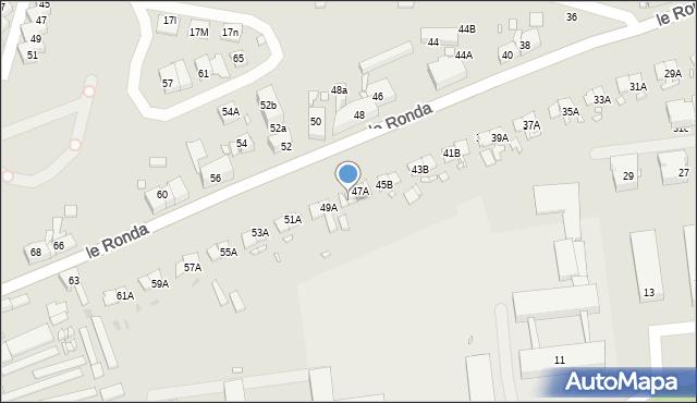 Katowice, Le Ronda Henryka, 47b, mapa Katowic